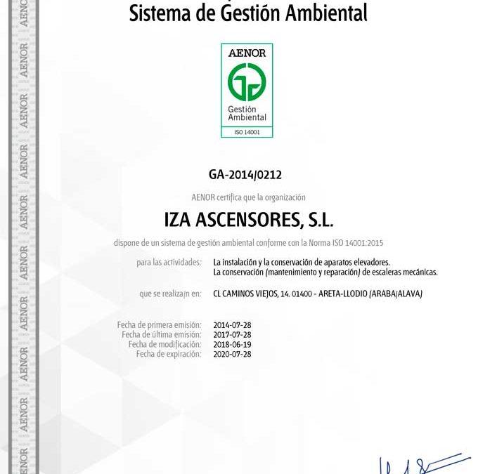 Iza Ascensores se certifica en el Sistema de Gestión Ambiental